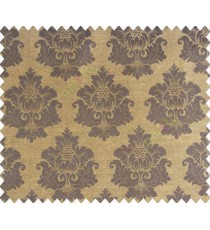 Traditional chocolate brown black damask temple design palace royal design on brown yellow base main curtain