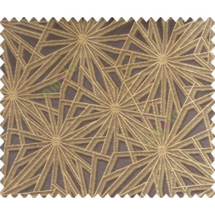 Abstract star sparkle running wheel network 3d design chocolate brown black on brown yellow base main curtain