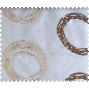 Abstract large circle with yo-yo design on white base yellow and brown sheer curtain