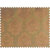 Traditional brown copper damask temple design palace royal design on brown base main curtain