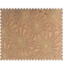Abstract star sparkle running wheel network 3d design brown copper on brown base main curtain