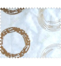 Abstract large circle with yo-yo design on white base brown and gold sheer curtain