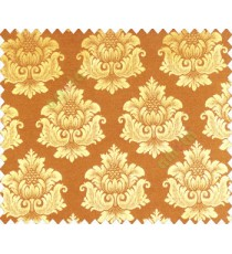 Traditional yellow gold damask temple design palace royal design on dark brown gold base main curtain