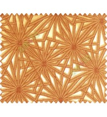 Abstract star sparkle running wheel network 3d design yellow gold on dark brown gold base main curtain