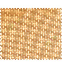 Traditional bamboo basket weaving design 3d design yellow gold on dark brown gold base main curtain