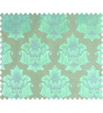 Traditional turquoise blue damask temple design palace royal design on grey base main curtain