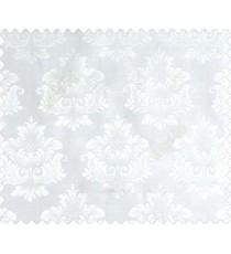 Traditional cream half white damask temple design palace royal design on white base main curtain
