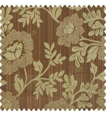 Dark brown beige black color beautiful floral designs big designs vertical background pencil stripes texture and shiny finished combination polyester main curtain