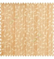 Orange beige color floral texture designs vertical pencil stripes background small leaves elegant look polyester main curtain