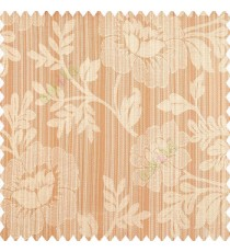 Orange beige color beautiful floral designs big designs vertical background pencil stripes texture and shiny finished combination polyester main curtain