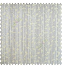 Light green grey color floral texture designs vertical pencil stripes background small leaves elegant look polyester main curtain