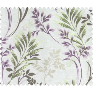 Traditional floral buds and leaves ferns purple gold brown green on beige base texture polyester main curtain