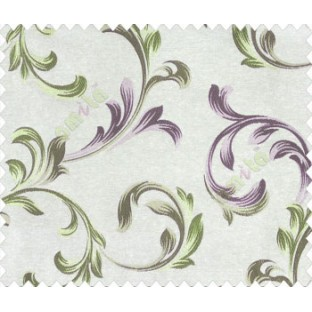 Traditional floral buds and leaves swirls purple gold brown green on beige base texture polyester main curtain