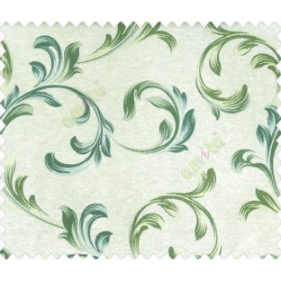 Traditional floral buds and leaves swirls grey turquoise blue green on beige base texture polyester main curtain