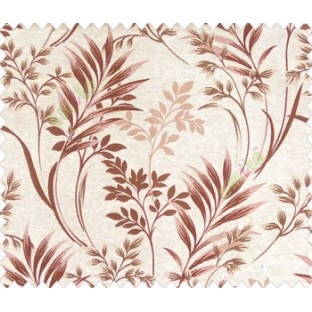 Traditional floral buds and leaves ferns maroon brown on beige base texture polyester main curtain