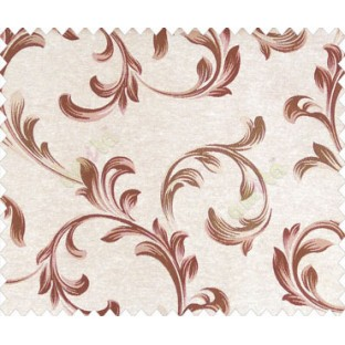 Traditional floral buds and leaves swirls maroon brown on beige base texture polyester main curtain