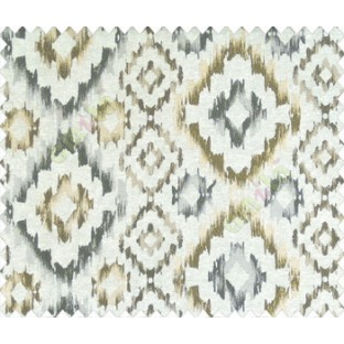 Traditional damask gold grey brown on beige base diamond texture polyester main curtain