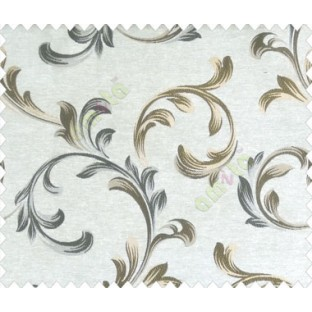 Traditional floral buds and leaves swirls gold grey brown on beige base texture polyester main curtain