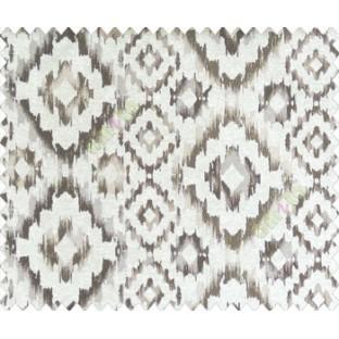 Traditional damask dark brown grey on beige base diamond texture polyester main curtain