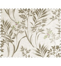 Traditional floral buds and leaves ferns dark brown grey on beige base texture polyester main curtain