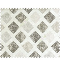 Ikat diamond dice block print designs dark brown grey on beige base polyester main curtain