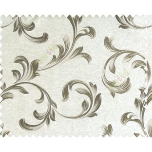 Traditional floral buds and leaves swirls dark brown grey on beige base texture polyester main curtain