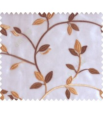 Traditional clear pattern floral leaf on plant dark chocolate brown cream leaves on half-white cream base sheer curtain