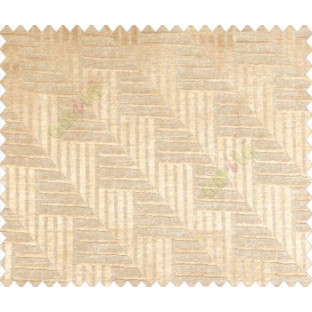 Abstract geometric step server stack staircase slant design beige on light brown  base main curtain