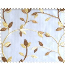 Traditional clear pattern floral leaf on plant light brown cream leaves on half-white cream base sheer curtain