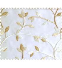 Traditional clear pattern floral leaf on plant white cream leaves on half-white cream base sheer curtain