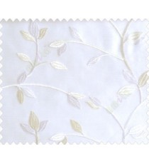 Traditional clear pattern floral leaf on plant white cream leaves on white base sheer curtain