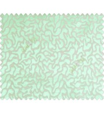 Abstract microbe choco flakes rounded geometric pattern grey on turquoise green blue base main curtain
