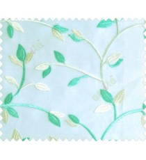 Traditional clear pattern floral leaf on plant turquoise blue cream leaves on half-white cream base sheer curtain