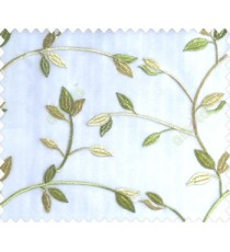 Traditional clear pattern floral leaf on plant lime green yellow leaves on half-white cream base sheer curtain