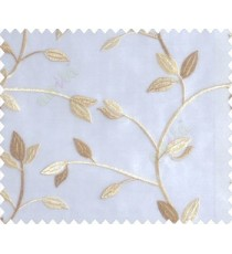 Traditional clear pattern floral leaf on plant brown yellow leaves on half-white cream base sheer curtain