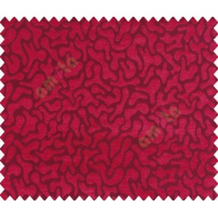 Abstract microbe choco flakes rounded geometric pattern pink maroon red on dark brown black base main curtain