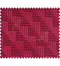 Abstract geometric step server stack staircase slant design pink maroon red on dark brown black base main curtain