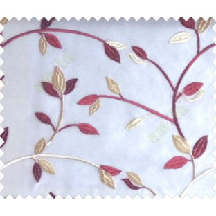 Traditional clear pattern floral leaf on plant maroon red cream leaves on half-white cream base sheer curtain