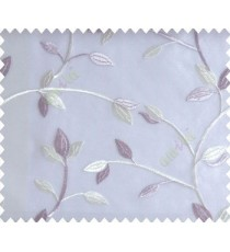 Traditional clear pattern floral leaf on plant purple white cream leaves on half-white cream base sheer curtain
