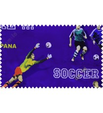 Kids blue footballer polyester main curtain designs