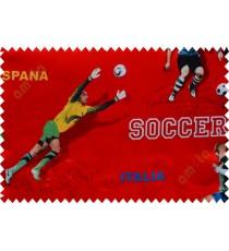 Kids red footballer polyester main curtain designs