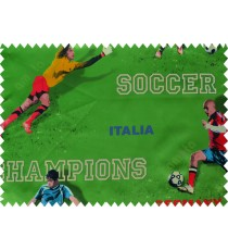 Kids green red footballer polyester main curtain designs