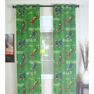 Kids green red footballer polyester main curtain designs