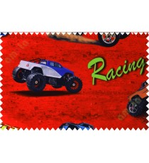 Kids red black racing car poly main curtain designs