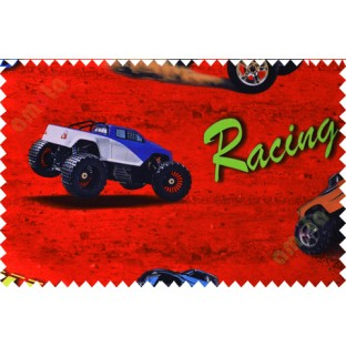 Kids red black racing car poly main curtain designs