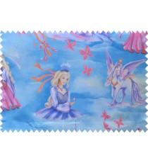 Kids blue pink barbie queen horse poly main curtain designs