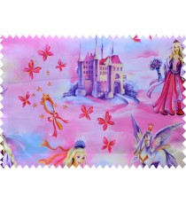 Kids pink yellow barbie queen horse poly main curtain designs