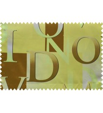 Kids brown yellow alphabet characters poly main curtain designs