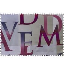 Kids purple beige alphabet characters poly main curtain designs