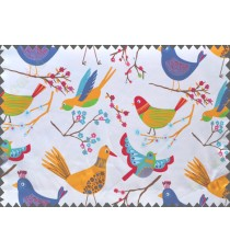 Kids white red singing birds poly main curtain designs